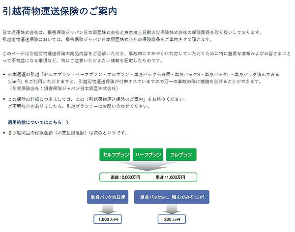 引越荷物運送保険(日通)