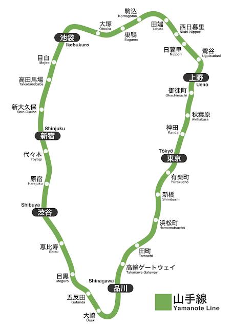 山の手線路線図地形重視版