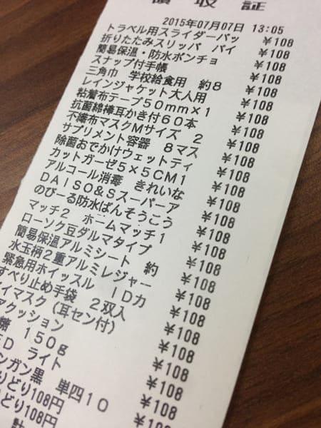 100円ショップで購入できた防災グッズ